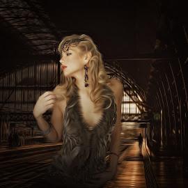 the stranger by Kathleen Devai - Digital Art People ( fantasy, woman, shadow, light, man )