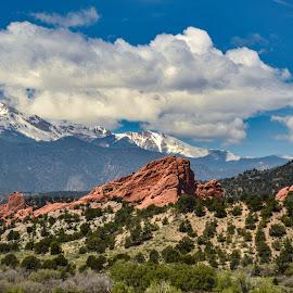 Springs by Lauren N. - Landscapes Mountains & Hills ( clouds, hills, mountains, sky, colorado springs, grass, snow, colorado, landscape )