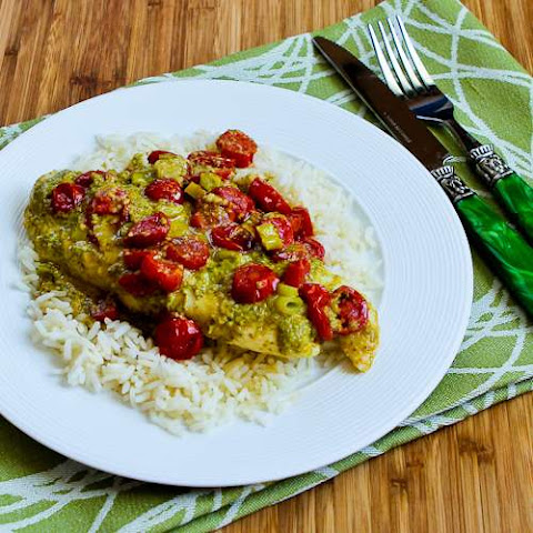 Foil-Wrapped Grilled Tilapia Packets Recipe with Pesto, Tomatoes, and Green Onions (Low-Carb, Gluten-Free)