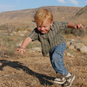 Going Down!!! Smiling!!! by Savannah Eubanks - Babies & Children Toddlers ( running, falling, smiling, desert, boy, laughing )