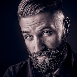 Mr. Man by Bendik Møller - People Portraits of Men ( black background, portraiture, model, monochrome, black and white, male, beard, portraits, mustache, mono, portrait )
