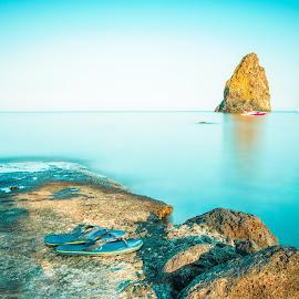 Acitrezza by Kyle Kephart - Landscapes Waterscapes ( blue, sunset, acitrezza, sea, long exposure, italy )
