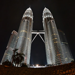 Petronas Towers by Mudassar Ahmed - Buildings & Architecture Office Buildings & Hotels ( malaysia, petronas towers, kuala lampur, Architecture, Building, Buildings, Exterior, Exteriors, Interior, Interiors, Space, Spaces, HDR, Landmark, Landmarks, Engineering, Tilt Shift, Tiltshift, night, lights )