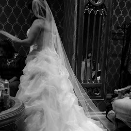 by Dawn Phipps - Wedding Bride ( black and white, wedding, wedding dress, bride )