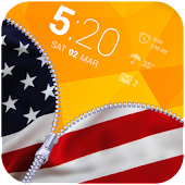 US Flag Zipper Lock App APK for Bluestacks