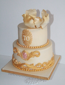 Ivory and Gold 70th Birthday Cake