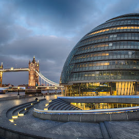 Tower Bridge & City Hall by Chris Cooper-Mitchell - Buildings & Architecture Public & Historical ( city hall, thames, the scoop, london, tower bridge, cityscape, nikon, city, city at night, street at night, park at night, nightlife, night life, nighttime in the city )