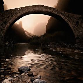 Bridges to Babylon by Mary Kay - Buildings & Architecture Bridges & Suspended Structures ( mary kay, greece, maria kaimaki, justeline, sunrise, bridge, mist )