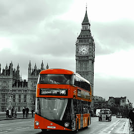 London by Gert de Vos - City,  Street & Park  Street Scenes ( red, bus, great brittain, london, tower bridge )
