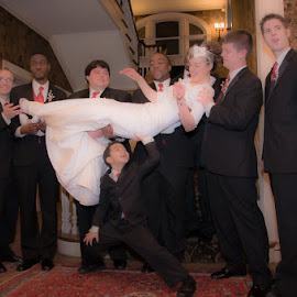 Don't Drop Her! by Chris Cavallo - Wedding Other ( groomsmen, red, bridal party, formals, wedding, winter wedding, white, ring barer, gown, bride )