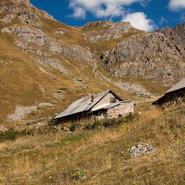 Shepherd Cabins by Rose Lindquist - Landscapes Mountains & Hills ( mountains, blue sky, grazing, isere, land, rhone alpes, pastures, france, french alps, rugged, alps )