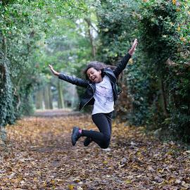 Jumping for Joy by Paul Putman - Babies & Children Children Candids ( grab shot, autumn, action, candid, jump )