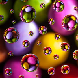 Candy Rainbow by Paul Lonsdale - Abstract Water Drops & Splashes ( sweets rainbow candy macro )