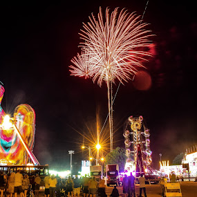 fireworks over the carnival by Jason Lockhart - City,  Street & Park  Amusement Parks ( wisconsin, rides, riverfest, watertown, carnival, fireworks )