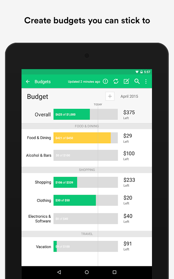 Mint Budget Bills Finance Android Apps On Google Play