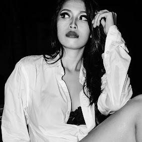 Life is Black and White by Adi Mumun'k - People Portraits of Women ( sexy, model, black and white, people, sensual, potraits )