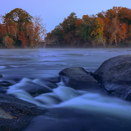 Congaree Confluence by Jonathan Wheeler - Landscapes Waterscapes ( autumn foliage, columbia sc riverfront, congaree river, sunrise, rivers )