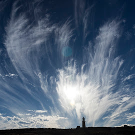 Dramatic burst of clouds  by Clarissa Human - Landscapes Cloud Formations ( cloud formations, clouds, white, lighthouse, landscape photography, cloudscape )