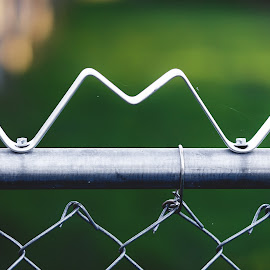 M Is On The Fence by Rob Heber - Artistic Objects Other Objects ( railing, natural light, detail, yard, still life, metal fence, pipe, diamond shapes, shallow depth of field, danger, twisted, metal, no people, rail, chain link fence, closeup, wire, letter, grass, close up, bolts, fence, focus on foreground, pattern, outdoors, selective focus, design, green grass )