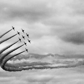 by Stuart Cochrane - Transportation Airplanes ( aviation, smoke-trails, black and white, airplane, raf, jetfighter, photography, redarrows, olympus )