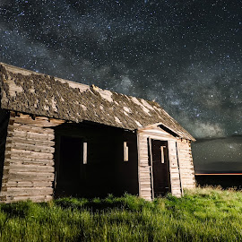 Desolate Beauty by Givanni Mikel - Landscapes Starscapes ( idaho, cabin, stars, nightscape, milky way )