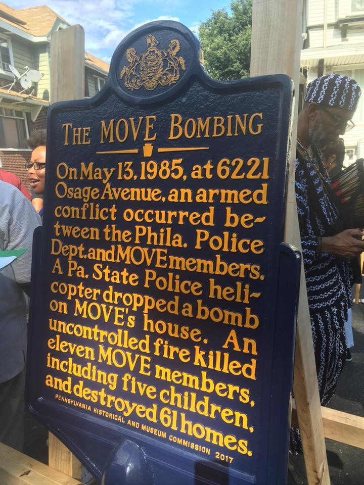 THE MOVE BOMBING On May 13, 1985, at 6221 Osage Avenue, an armed conflict occurred be-tween the Phila. Police Dept. and MOVE members. A Pa. State Police heli-copter dropped a bomb on MOVE's house. ...