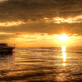 boat and sunset by Fraya Replinger - Transportation Boats ( michigan, orange, sunset, summer, lake, fishing, boat )