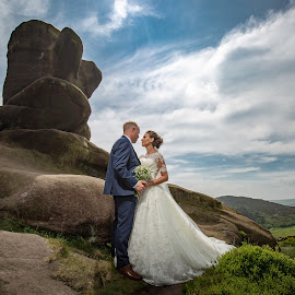 On top of the world by Paul Eyre - Wedding Bride & Groom ( nottingham wedding photographer, love, couple, wedding, epic wedding photography, married, together )