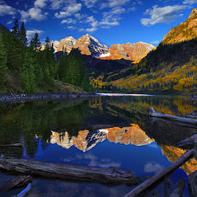 Morning Reflection by Al Juniarsam  - Landscapes Mountains & Hills ( colorado, lake, maroon bells, aspen )