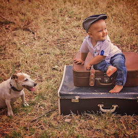 boy and his dog by Wendy Berning - Babies & Children Child Portraits