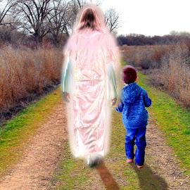 WALKING WITH JESUS  by Gerry Slabaugh - Digital Art People ( walking with jesus, walking, christian walk, cross )