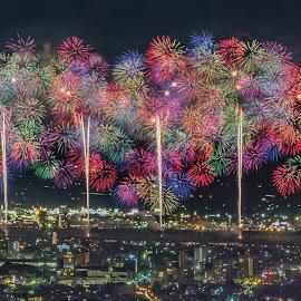 Fireworks cityscape by Carol Tan - City,  Street & Park  Skylines ( #nagaoka, #fireworks, #cityscape, #niigata, #summer, #colourful, #hanabi, #thousandwheel, #night, #japan,  )