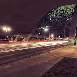 Tyne Lights by Adam Lang - City,  Street & Park  Street Scenes ( traffic, light trails, gateshead, newcastle, night, tyne bridge, bridge )