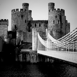 by Emma Payne - Buildings & Architecture Public & Historical ( black and white, wales, castle, conwy, bridge,  )