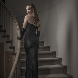 Heather by Dave Harley - People Portraits of Women ( dress, elegant, staircase, veronica lake, heather )