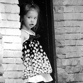 Peeking in the doorway by Julie Quesnel - Babies & Children Children Candids ( child, girl, doorway, black and white, peek )