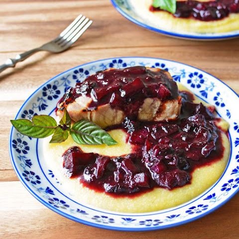 Grilled Pork Chops with Blueberry Compote