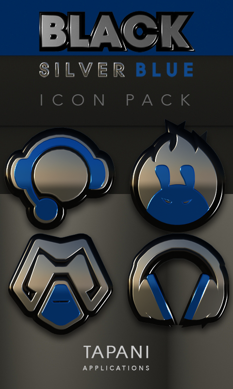 Black silver blue Icon Pack 3D Screenshot 0