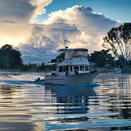 Morning Has Broken - Clarence River by Garry Dosa - Transportation Boats ( outdoors, blue, framed, reflections, dawn, clouds, river, water, boat )