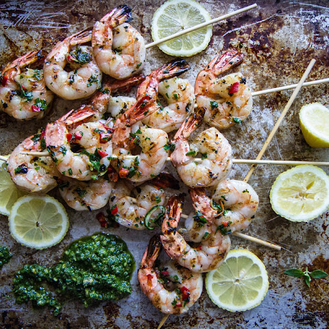 Grilled Shrimp Skewers with Coconut Compound Butter and Basil Pistou