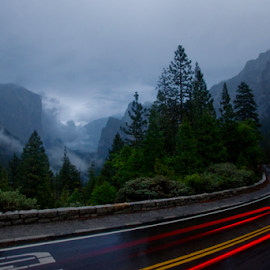 Around the Bend by Olga Charny - Landscapes Mountains & Hills ( tunnel view, yosemite )