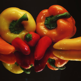 Peppers by Dave Walters - Food & Drink Fruits & Vegetables ( vegtables, nature, colors, still life, food, lumix fz2500 )