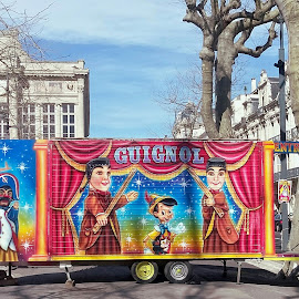 Guignol and friends by Helena MARC - City,  Street & Park  Street Scenes ( streetphotography, street art, street, travel, kids, street scene, town, painting, street photography )