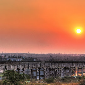 Sunset in Mysore City by Nelson Moses - Landscapes Travel ( hdr, sunset, vibrant, canal, city )