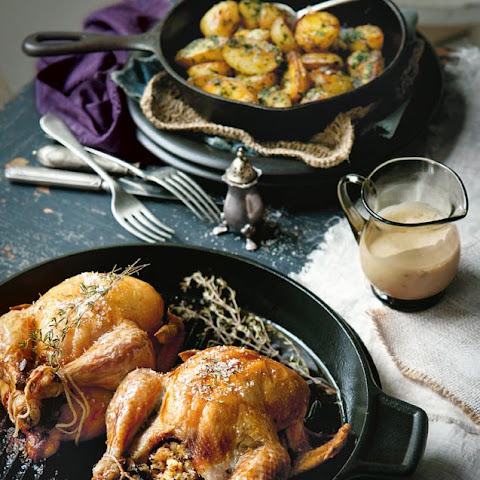 Mushroom And Thyme-stuffed Poussins With Madeira Sauce