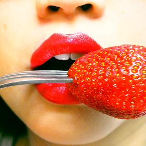 Strawberry mouth. by Eliani Miranda - Food & Drink Fruits & Vegetables ( face, fork, fruit, photograph, pwcfruit, mouth, strawberry, teeth, dslr, tasty, red, mouth lipstick, food, horizontal, lips, eat, fresa, nikon, hungry, nose )