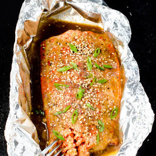 Slow Baked Asian Salmon with Wilted Greens