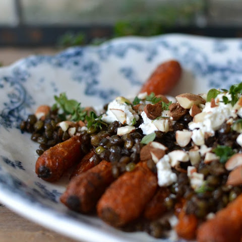 Slow roasted Carrots with Lentils, Nuts & Goats Cheese