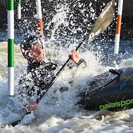 Kayaker by Michaela Firešová - Sports & Fitness Watersports ( water drops, obstacle, oar, kayak, surprise )