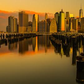 Golden-York by Roland Bast - City,  Street & Park  Vistas ( water, reflection, usa, golden, new-york city )